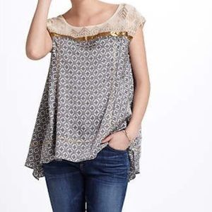 Anthropologie Floreat Branched Copper Sequin Top